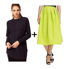 Cable-Knit Sweaters + Midi Skirts = A Combo For the 9 to 5 (and Beyond): the neon skirt.