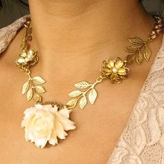 Vintage Cream Rose Bridal Necklace Gold: 88.00 {perfect for a woodland or outdoor wedding}