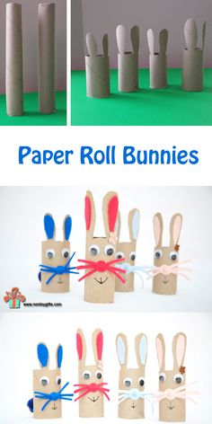 Simple cardboard toy for toddlers and preschoolers made from toilet paper / towel paper roll. Easter bunny craft for kids.  | at Non Toy Gifts