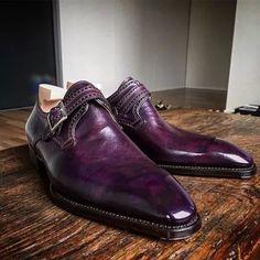 Business Formal Purple Leather Shoes Mens Business Shoes, Branded Shoes For Men, Casual Leather Shoes, Leather Men, Real Leather, Dress With Boots, Dress Shoes, Gentleman Shoes, Monk Strap Shoes