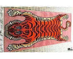 tibetan tiger rug pink - Google Shopping Tiger Rug, Rectangle Shape, Rugs On Carpet, Handmade Rugs, Animal Print Rug, Knots, Arts And Crafts, Weaving, Artisan