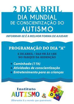 """Instituto Autismo e Vida: Dia """"A""""   6 de abril   Programação Autismo & Vida"""