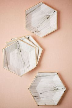 Marble Hexagonal Paper Plates (8) in Gifts & Décor View All Décor at BHLDN