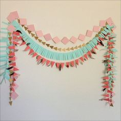 Geometric Tribal Garland Set - blush pink, gold, mint & coral by… Third Birthday, First Birthday Parties, First Birthdays, Birthday Diy, Birthday Ideas, Baby Shower Tribal, Pow Wow Party, Birthday Garland, Birthday Party Centerpieces