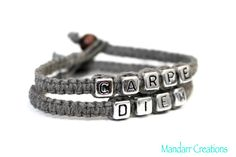 Carpe Diem Seize the Day Grey Hemp Bracelets by MandarrCreations