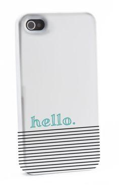 Striped Blue hello iPhone 4/4s Case by shoppronetowander