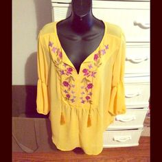 Sheer Top Pretty yellow with multi color embroidery.  Never worn.  Great for Fall.  Really a year round piece.  No tags. Tops Blouses