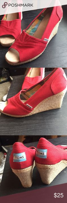 TOMS wedges Like new red TOMS wedges Toms Shoes Wedges
