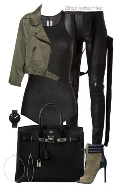 """""""Black x Khaki"""" by highfashionfiles ❤ liked on Polyvore featuring Rick Owens, Acne Studios, Hermès, Rosendahl and Phyllis + Rosie"""