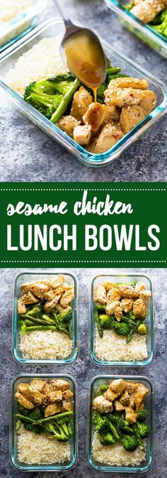 Make these meal prep Honey Sesame Chicken Lunch Bowls and you'll have FOUR work lunches ready to go!: (Sesame Chicken)