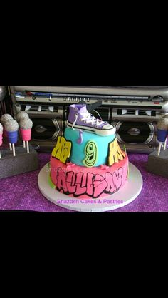 Hip Hop Birthday cake, Sneakers Edible Fondant with some edible graffiti !!