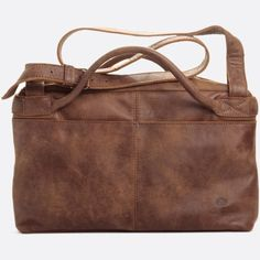 Brown leather hand and shoulder bag Shabbies Amsterdam