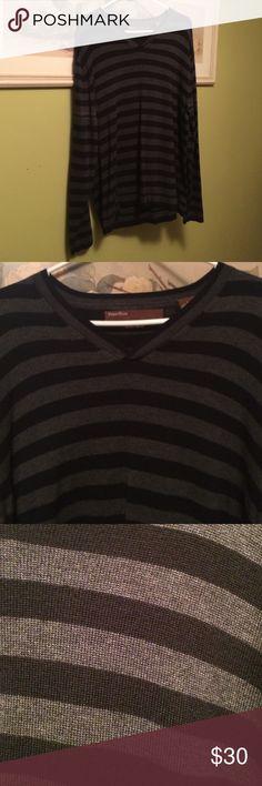 Men's Perry Ellis striped sweater size Large Men's Perry Ellis striped sweater, black and gray stripes, merino blend, size large Perry Ellis Sweaters V-Neck