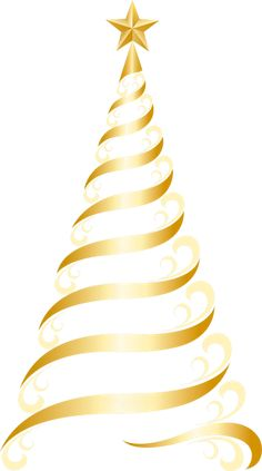 Large Transparent Christmas Gold Tree Clipart | Imágenes navidad ...