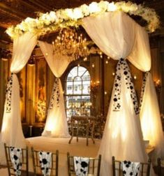 Wedding Arches | indoor wedding arches Archives | Weddings Romantique  pretty elaborate, but nice backlighting under the fabric?
