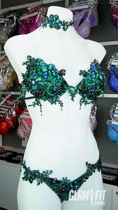 Green lace WBFF Diva competition bikini