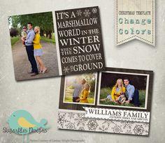 Christmas Card PHOTOSHOP TEMPLATE  Family by SugarfliesDesigns, $8.00
