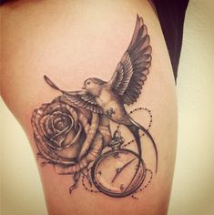 Bird, rose, pocket watch tattoo by Poca Tattoo, in Switzerland (Lausanne).