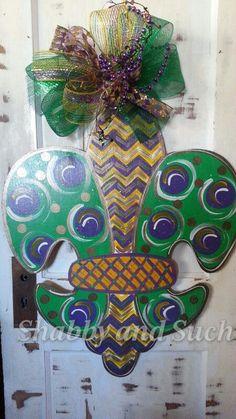 MARDI GRAS Fleur de lis Door Hanger Door by shabbyandsuchdesigns, $45.00