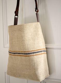 Grain Sack Messenger Shoulder Bag. Vintage Leather Strap. Grey Stripe Burlap Purse. French Ticking Lining.
