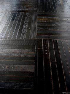 recycled leather belts als vloer of vloerkleed