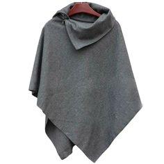Irregular Hem High Neck Loose Cloak Shawl Coat