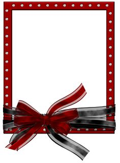 Red PNG Photo Frame with Black and Red Bow | Gallery Yopriceville - High-Quality Images and Transparent PNG Free Clipart