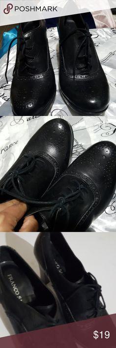 Franco Sarto Oxford Style black leather heels Size 9 1/2M Franco Starto Oxford Style heels in good condition. Franco Sarto Shoes Heeled Boots