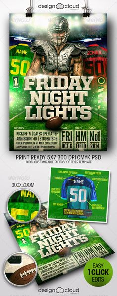 Friday Night Lights Football Flyer Template Night, Flyers and Football