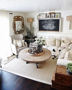 Cozy Neutral Farmhouse Style Living Room With Ikea Rp Sectional Cottage Vibe Makeover Progress Source List Of Everything In The