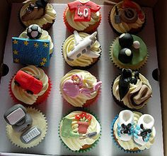 A box of personalised cupcakes Personalised Cupcakes, Box, Desserts, Tailgate Desserts, Snare Drum, Deserts, Custom Cupcakes, Postres, Dessert