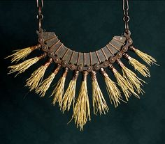 Necklace |  RICHARD SALLEY-USA Artist, 2008, necklace pendant, copper, hand fabricated wire chain, bicycle chain, found objects