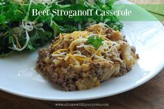 "Beef Stroganoff Casserole - (S)!  ""Beef Stroganoff screams creamy comfort food. With some experimenting I came up with a fun twist on the beloved dish to make it low-carb friendly and on plan for Trim Healthy Mama."" - Jennifer   http://www.ahomewithpurpose.com/baked-beef-stroganoff/ www.TrimHealthyMama.com"