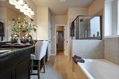 Master Bathroom with Stand-up Shower and Spacious Tub, plus Granite Counter Tops Saratoga Homes, Model Homes, Granite Countertops, Master Bathroom, Bathtub, Shower, Counter Tops, Siena, Interior