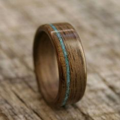 By Stout Woodworks: Walnut Bentwood Ring with Offset Turquoise Inlay - Handcrafted Wooden Ring