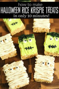 Halloween Rice Krispie Treats - Mummies & Monsters ready in 10 minutes Looking for a cute Halloween treat idea? You are going to love these easy Halloween Rice Krispies Treats I made from Decorate them in 10 minutes! Halloween Desserts, Halloween Rice Crispy Treats, Halloween Rice Krispies, Pumpkin Rice Krispie Treats, Cute Halloween Treats, Easy Halloween, Christmas Rice Krispie Treats, Halloween 2020, Reis Krispies