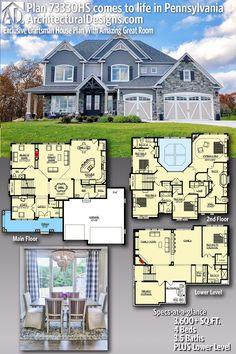 Architectural Designs Exclusive House Plan client-built in Pennsylvania Dream House Plans, House Floor Plans, My Dream Home, Dream Houses, 6 Bedroom House Plans, House Plans 2 Story, Style At Home, Modern Farmhouse Exterior, House Blueprints