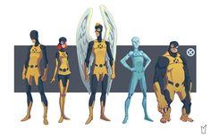 X-Men : Ilustrações com a primeira formação do grupo de Mutantes.