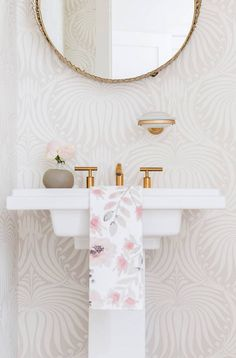 8 Home Depot Shopping Secrets You're Not Supposed to Know Neutral powder room with a round mirror, printed wallpaper, and … Lotus Wallpaper, Neutral Wallpaper, Print Wallpaper, Wallpaper Ideas, Home Depot Shopping, Shopping Tips, Amanda Barnes, Powder Room Decor, Powder Rooms