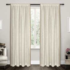 Exclusive Home Baja Natural Linen with Toned Border Sheer Rod Pocket Window Curtain Panel Pair, 54x96 ** Want additional info? Click on the image. (This is an affiliate link and I receive a commission for the sales)
