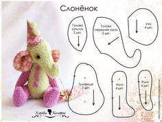 Free elephant pattern (in Russian) Plushie Patterns, Softie Pattern, Felt Patterns, Free Pattern, Fabric Animals, Sock Animals, Stuffed Animal Patterns, Diy Stuffed Animals, Tilda Toy