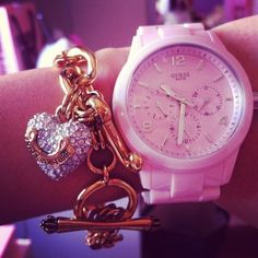 juicy couture bracelet and guess watch