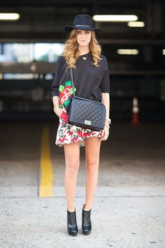 bold prints, quilted bag, hat | favorite looks from NYFW street style
