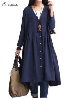 O-NEWE Pure Color Lapel Pleated Trench Coat Cardigan For Women  - Newchic Plus Size Outerwear Mobile.
