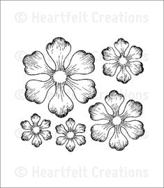 Arianna Blooms Die - - Craft Dies - This exclusive Heartfelt Creations Die will work with most manual die cutting systems. We recommend you purchase the Arianna Blooms Cling Stamp Set to Quilled Creations, Heartfelt Creations, Flower Vine Tattoos, Silhouette Cameo, Illustration, Flower Template, Stamp Making, Copics, Flower Tutorial