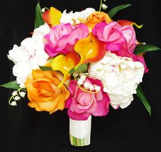 This is a beautiful Bouquet , amazingly realistic, made with the best available silk flowers . Amazing Soft Touch Off White Peonies, Orange and Fuchsia