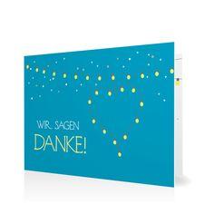 Dankeskarte Leuchtendes Fest in Lagune - Klappkarte flach #Hochzeit #Hochzeitskarten #Danksagung #Foto #kreativ #modern https://www.goldbek.de/hochzeit/hochzeitskarten/danksagung/dankeskarte-leuchtendes-fest?color=lagune&design=69b12&utm_campaign=autoproducts