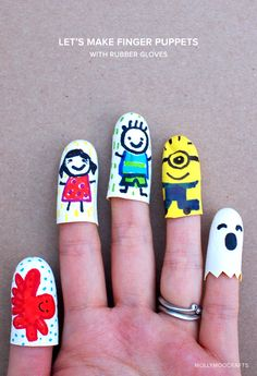 Let's make a troupe of cute finger puppets in minutes... from rubber gloves! MollyMooCrafts.com