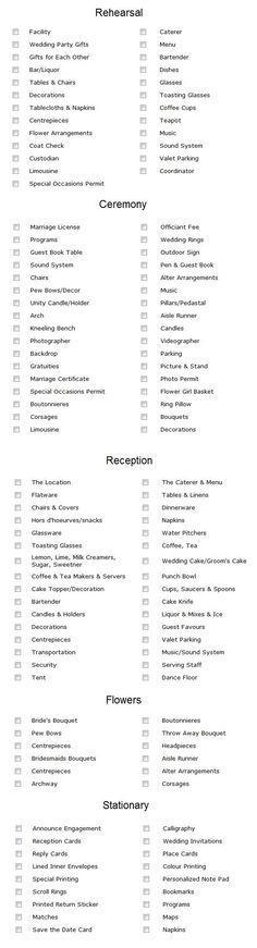 Simple Wedding Decoration checklist