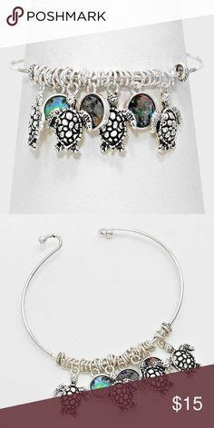 """Abalone Turtle Charm Bracelet • Color : Silver Burnished, Abalone • Theme : Reptile, Sea Life  • Size : 1"""" H, 2 1/2"""" D • Abalone Disc Drop Turtle Charm Bracelet Jewelry Bracelets"""